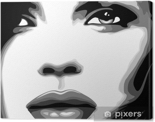 Quadro Su Tela Viso Clip Donna Art Stilizzato Ragazza Volto Di Donna