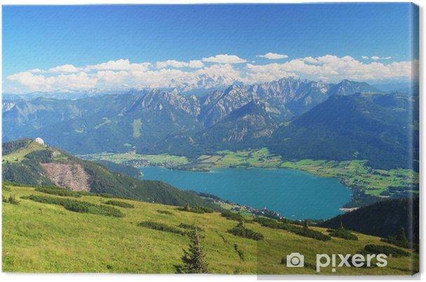 Quadro su tela vista panoramica sul dachstein e il lago di