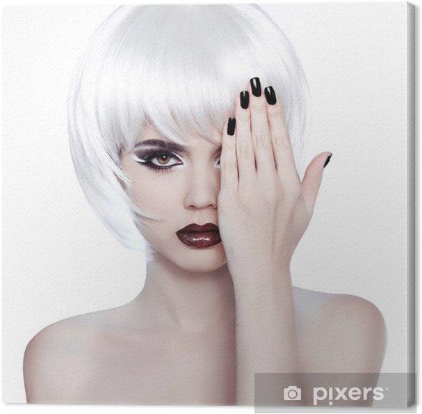 e4c9d0ec8ee0 Quadro su Tela Vogue Stile Donna. Moda bellezza donna ritratto con Bianco  Shor