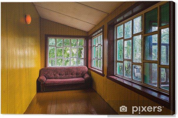 Divano Maria Rosaria : Quadro su tela vuoto spaziosa veranda con finestre e un divano