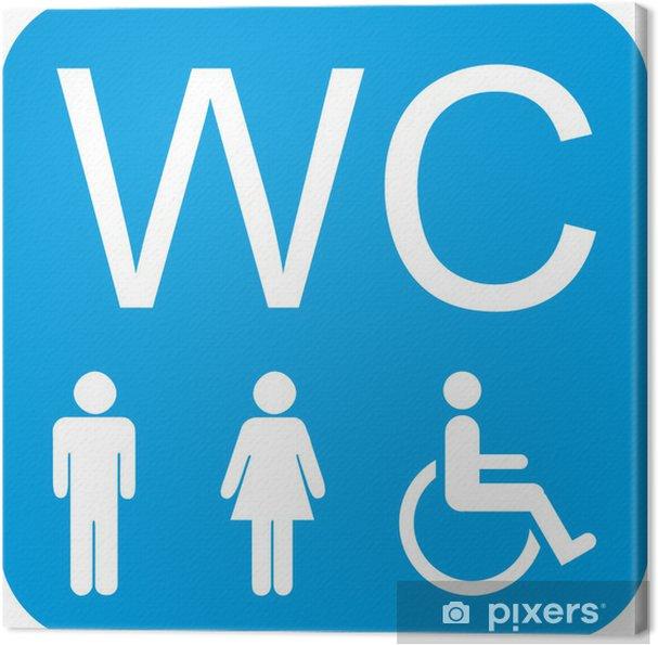 Quadro Su Tela Wc Segno Uomo Donna Su Sedia A Rotelle Handicap