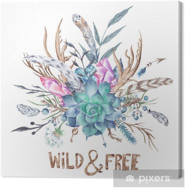 Quadro su Tela Wild and Free Boho acquerello illustrazione - Hobby e Tempo Libero