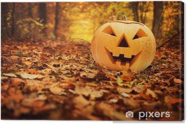 Quadro su Tela Zucca di Halloween in autunno foresta - Feste Internazionali dad9676017de