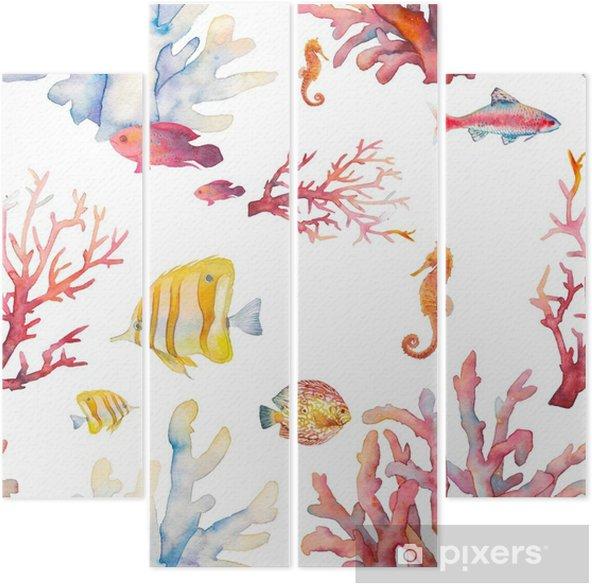 Quadriptico Teste Padrao Sem Costura De Coral Coral Desenho De