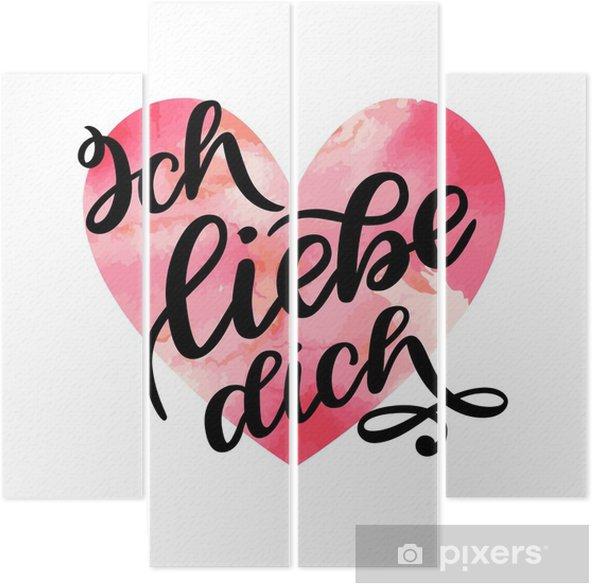 Quadríptico Texto Manuscrito Em Alemão Ich Liebe Dich Te Amo Cartão Postal Frase Do Dia Dos Namorados Ilustração De Tinta Caligrafia De Escova