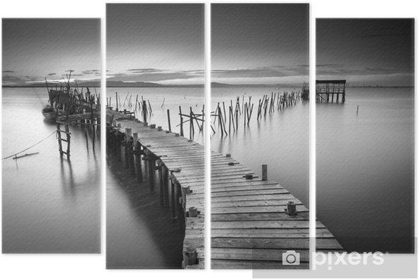 A peaceful ancient pier Quadriptych - Landscapes