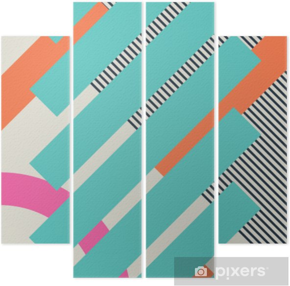 Abstract retro 80s background with geometric shapes and pattern. Material design. Quadriptych - Graphic Resources