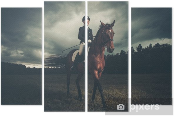 Beautiful girl sitting on a horse outdoors against moody sky Quadriptych - Industry