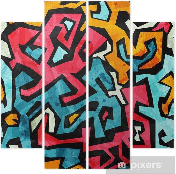 bright graffiti seamless pattern with grunge effect Quadriptych - Themes