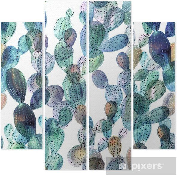 Cactus pattern in watercolor style. Quadriptych - Plants and Flowers