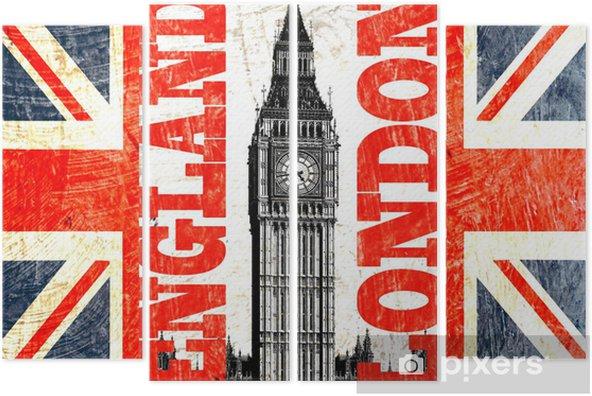 drapeau anglais coupé avec écrit london england et big ben Quadriptych - Themes