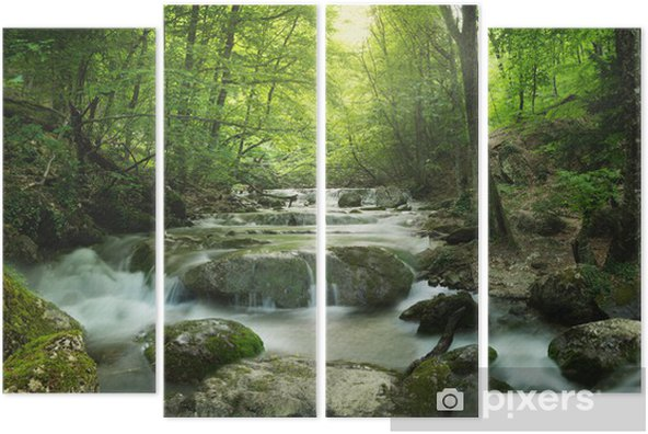 forest waterfall Quadriptych - Themes