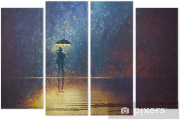 lonely woman under umbrella lights in the dark,digital painting Quadriptych - Hobbies and Leisure