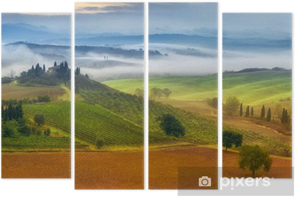 morning fog in Tuscany Quadriptych - Themes