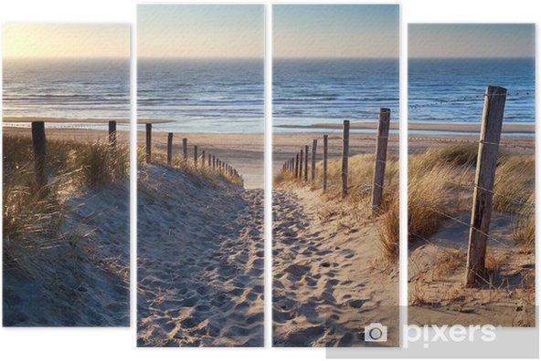path to North sea beach in gold sunshine Quadriptych - Destinations