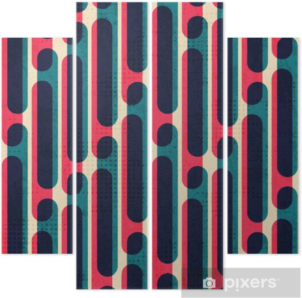 retro stripes seamless pattern Quadriptych - Graphic Resources