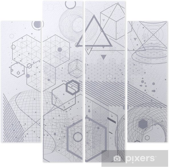 Sacred geometry symbols and elements background. Cosmic, universe, bing bang, alchemy, religion, philosophy, astrology, science, physics, chemistry and spirituality themes. Quadriptych - Graphic Resources