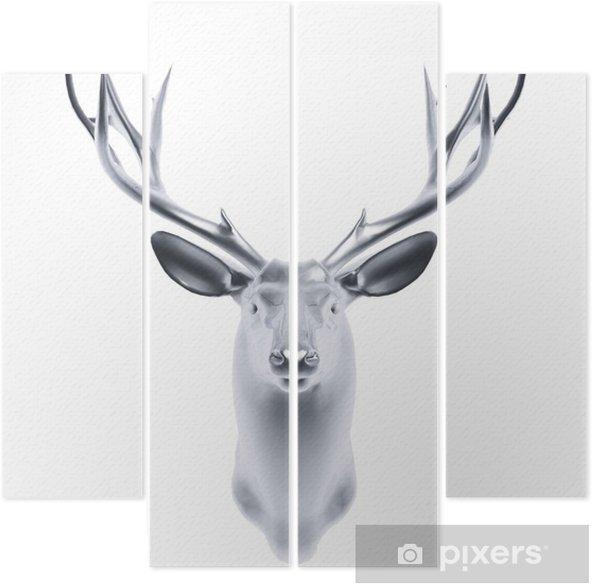 silver deer head Quadriptych - Mammals