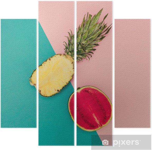 Tropical Mix. Pineapple and Watermelon. minimal Style Quadriptych - Lifestyle