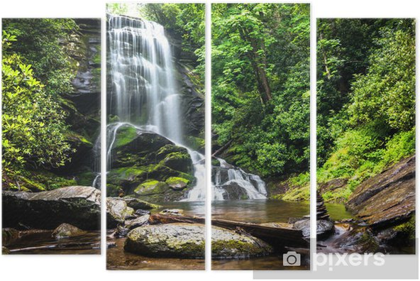 Waterfall amidst the forest greenery Quadriptych - Waterfalls