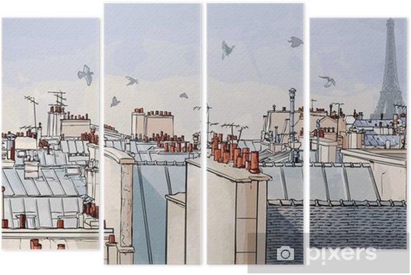 Quadriptychon Frankreich - Paris Dächern -
