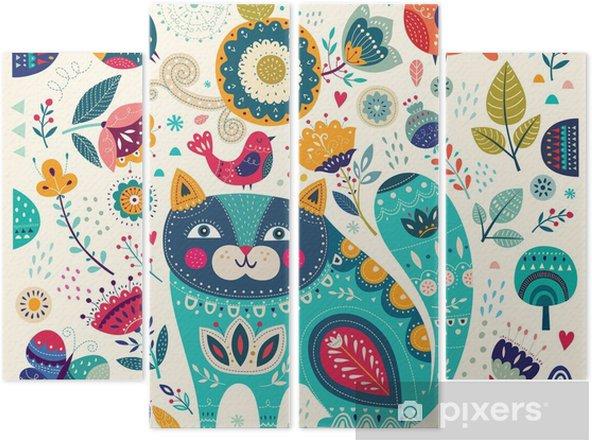 Quadriptychon Vector bunte Abbildung mit schönen Katze, Schmetterlinge, Vögel und Blumen - Tiere