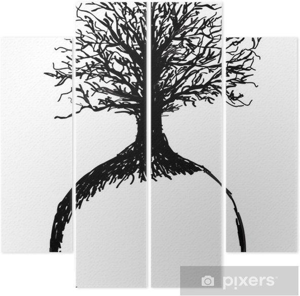 Quadriptych Hånd trukket Trær av liv og jord, skisse - Suksess og Oppnåelse