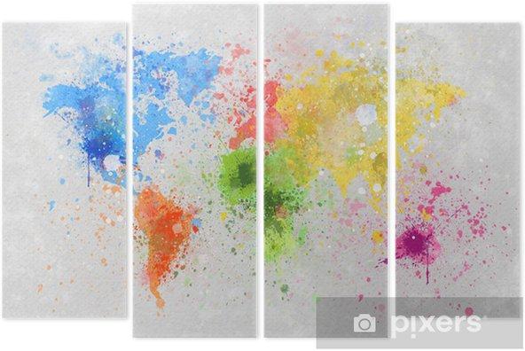 Quadriptyque Carte du monde peinture -