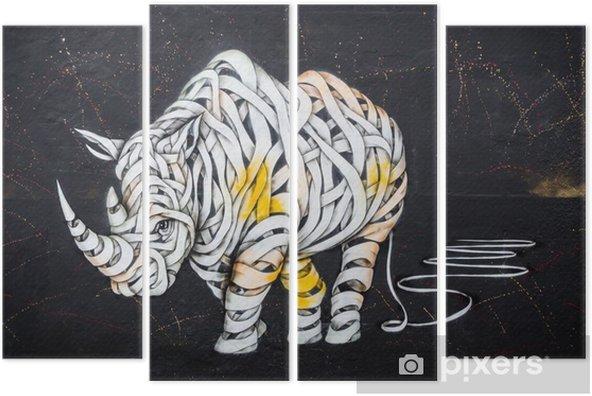Quadriptyque Étiquette de rhinocéros - Passe-temps et loisirs