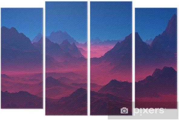 Quadriptyque Montagnes au coucher du soleil - Paysages