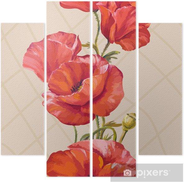 870397a28e69 Quadriptyque Peinture à l huile. Carte avec fleurs de pavots ...