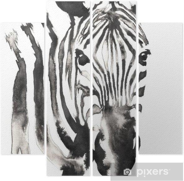 Quadriptyque Peinture Monochrome Noir Et Blanc Avec De L Eau Et De L