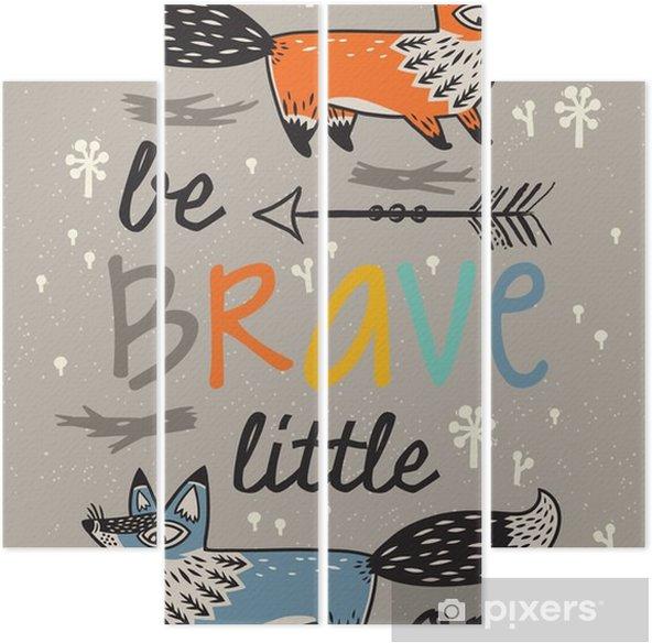 Quadriptyque Soyez courageux affiche pour les enfants avec des renards dans le style de bande dessinée - Animaux