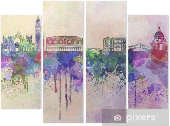 Quadriptyque Venise horizon dans le fond d'aquarelle -