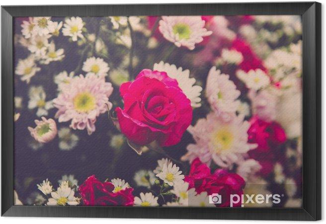 Quadro com Moldura Bouquet de rosas do casamento da flor. Filtro retro - Plantas e Flores