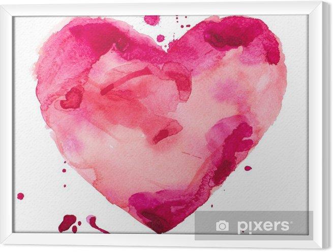 Quadro com Moldura Coração aquarela. Conceito - o amor, relacionamento, arte, pintura - Conceito