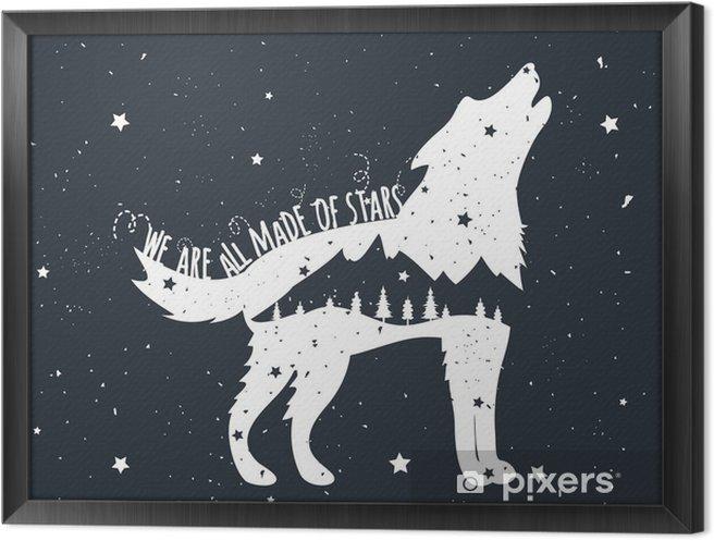 Quadro com Moldura Ilustração do vetor com Howling Wolf, montanhas e árvores - Animais