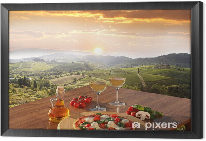 Quadro com Moldura Italian pizza and glasses of white wine in Chianti, Italy -