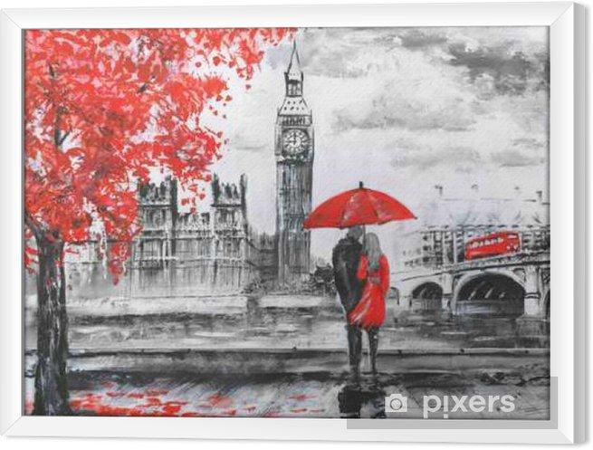 Quadro com Moldura .oil pintura em tela, opinião da rua de Londres, rio e ônibus na ponte. Obra de arte. Big Ben. homem e mulher sob um guarda-chuva vermelho - Viagens