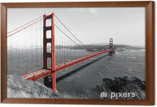 Quadro com Moldura Ponte Golden Gate Pop vermelho em B - iStaging