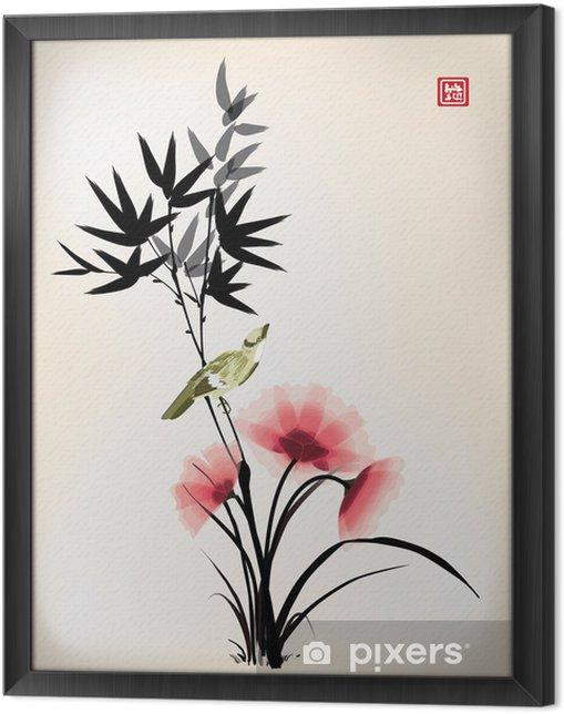Quadro com Moldura Tinta estilo chinês desenho da flor do pássaro - Criteo