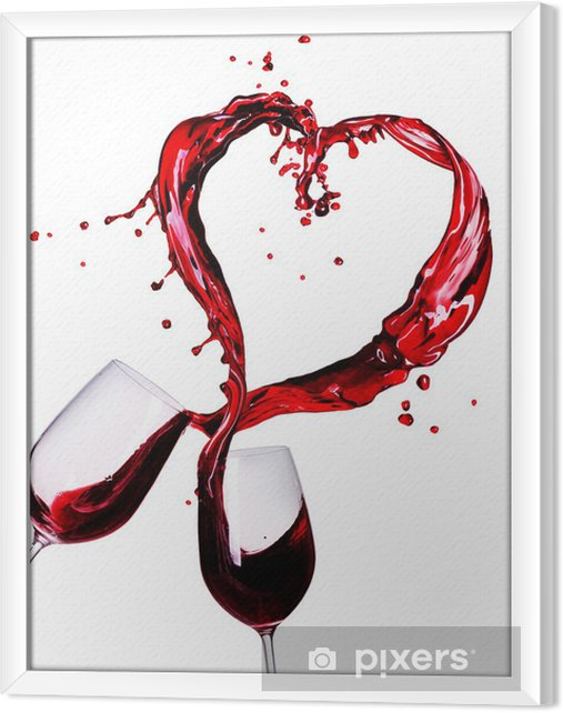 Quadro com Moldura Two Glasses of Red Wine Abstract Heart Splash - Decalque de parede
