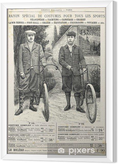 Quadro com Moldura Two men with bike suit - Na Estrada