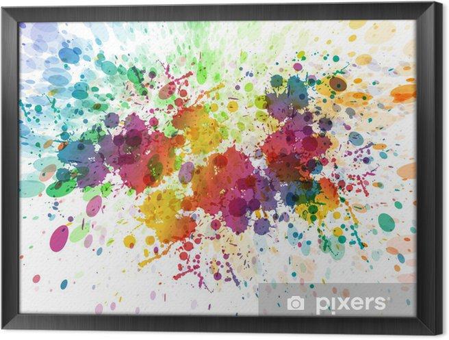 Quadro com Moldura Versão raster de fundo colorido abstrato do respingo - Hobbies e Lazer