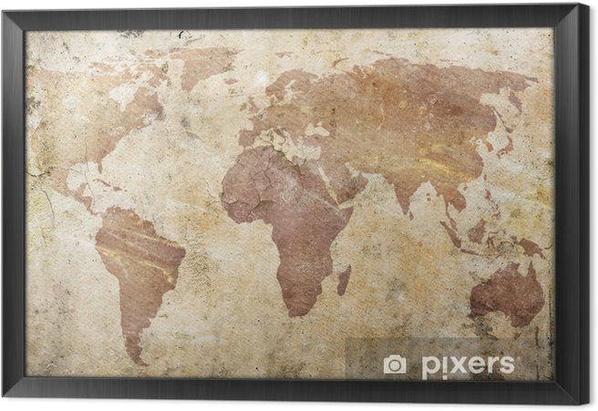 Quadro com Moldura vintage map of the world -