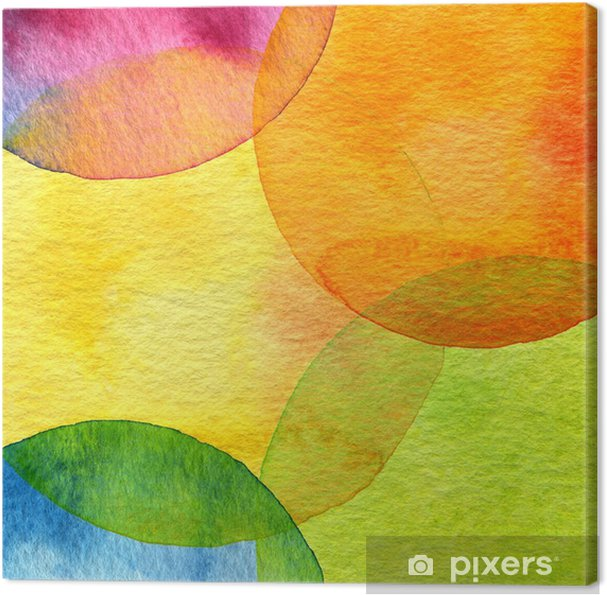 Quadro em Tela Abstract watercolor circle painted background - Estilos