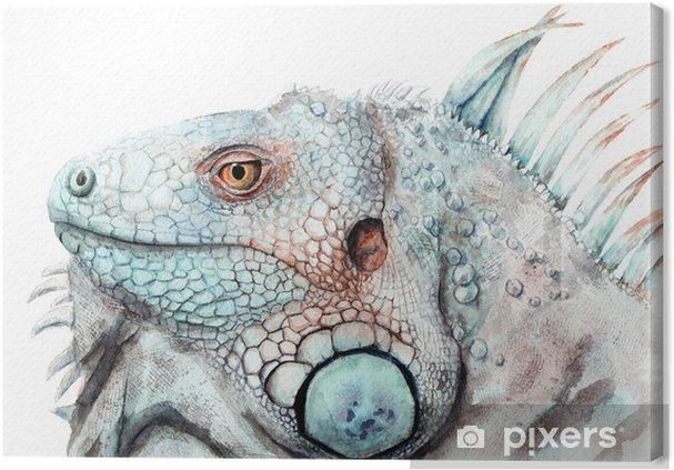 Quadro Em Tela Aquarela Desenho De Animal Cor Iguana Sketch