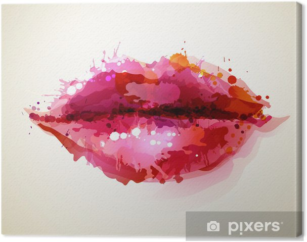 Quadro em Tela Beautiful womans lips formed by abstract blots -