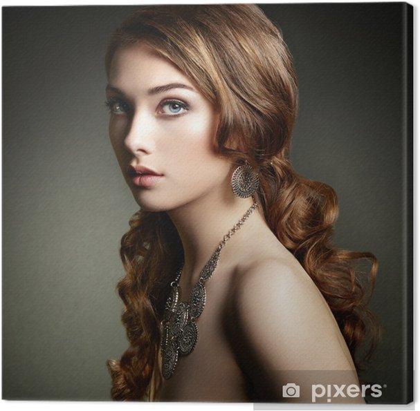 Quadro Em Tela Beauty Woman With Long Curly Hair Beautiful Girl