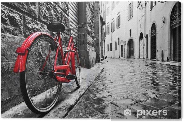 b4362cfbb30 Quadro em Tela Bicicleta vermelha vintage retro na rua de paralelepípedos  da cidade velha. cor em preto e branco